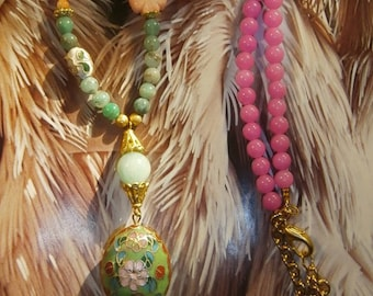 "necklace ""Feather"" Bohemian chic, Gypsy, semi-precious stones"