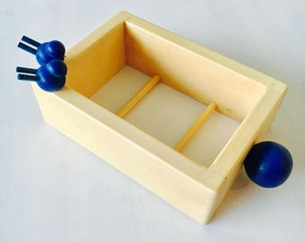 Vintage Aarikka bird wooden butter or margarine tub holder, by Aarikka Finland, Made in Finland, 1980s