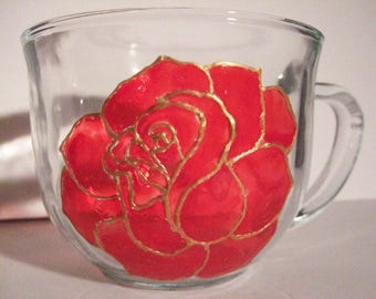 Red Rose Cup Valentine's, Gift for Her, Mother's Day, Tea Drinker, Coffee Mug, Love, Romance