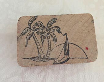D066  Palm Trees rubber stamp