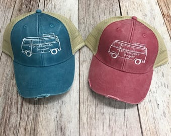 Brookielynn's Bungalow Branded VW Bus Trucker Hat | Turquoise or Red | Vintage VW Bus {Local Pick Up}