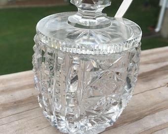 Cut crystal sugar bowl