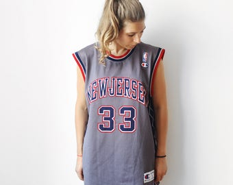 Vintage CHAMPION Stephon Marbury #33 tank top / New Jersey Nets basketball singlet / NBA Bball jersey tshirt apparel / made in Poland 90s L