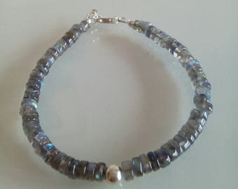 Labradorite Heishi Bracelet With  925 Sterling Silver
