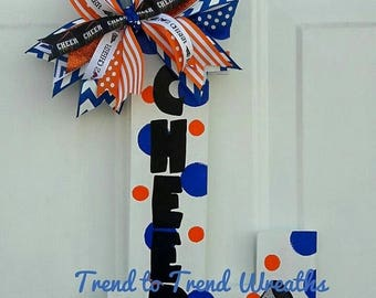Cheer Letter,  Cheerleading Wall Decor, Cheer Gift, Cheer Coach, Pom Letter, Pom Coach, Pom Pom  Door Hanger, School Spirit