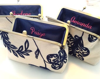 """Limited Edition Embroidered Linen Bridesmaid Clutches, Personalized Floral Wedding Purse Set of 3, 4 or 5, Bridesmaid Clutch Set, 8"""" Clasp"""