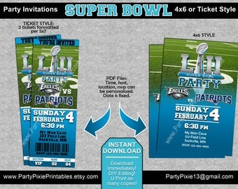 INSTANT DOWNLOAD Super Bowl Football Party Invitations - Ticket Style or 4x6 Pdf Files - Philadelphia New Orleans DIY Editing and Printing