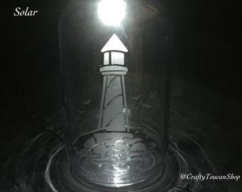 Lighthouse Solar Light - Hanging Outdoor Lantern For Garden - Etched Engraved Glass Gift - Lighthouse Lamp - Present For Mother - Seaside
