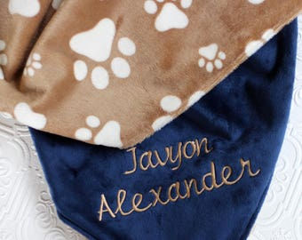 Baby Boy Blanket Personalized, Baby Blanket with Name, Chevron Baby Blanket, Personalized Puppy Baby Blanket , Personalized Minky Blanket