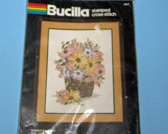 SALE Bucilla 40037 Summer Flowers Stamped Cross Stitch New Kit 14 x 18
