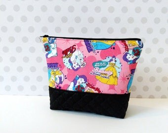 Large Makeup Pouch / Beauty and The Beast Comic Pink
