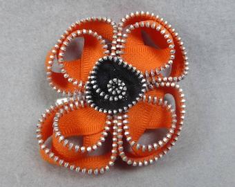 Orange California Poppy Brooch, Zipper Brooch, Orange Brooch, Pink Pin, Zipper Pin, Zipper Art, Flower Pin, Upcycled, Recycled, Repurposed