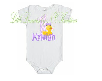 Free Shipping ~ Rubber Ducky Purple and Yellow Onesie or Tshirt - Any age