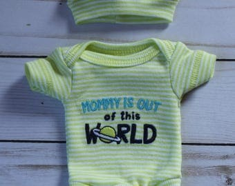 "bodysuit clothing set for 9"" mini reborn baby doll clothes outfit micro preemie silicone OOAK reborn fits wee patience"