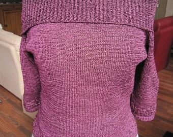 Plum half, three-quarter sleeve sweater
