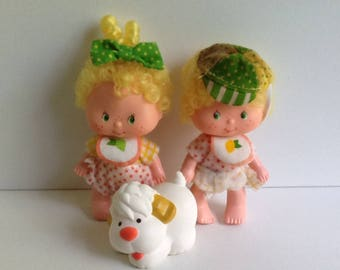 LEM & ADA Vintage Strawberry Shortcake Dolls w/ Pet