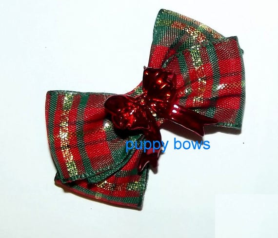 Puppy Bows ~ Christmas gold threads red green Poodle Pigtail pairs ear  pet hair bow (fb49)