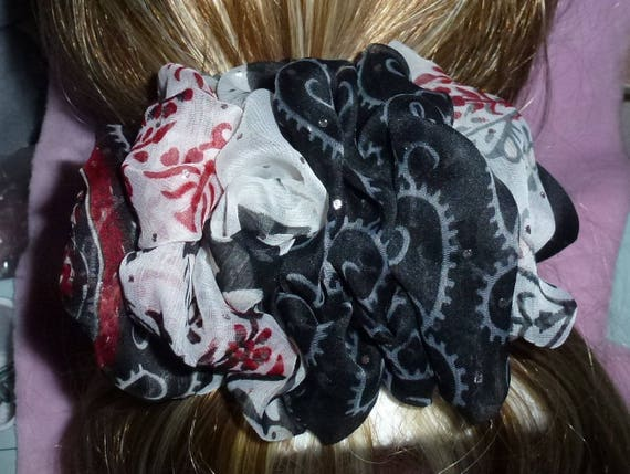 Becky Bows ~ ROSETTE Barrette Hand crafted giant huge Scarf BIG hair bow Women or Girls black gray burgundy