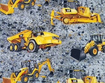 Caterpillar Cat heavy equipment Earthmovers on Rock gravel- Quilt Fabric by the yard
