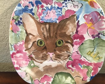 """Vintage ZRIKE Minou-ettes Brown Cat Pink and Blue Floral Plate by C. Pradelie' Made in Portugal 1985 Porcelain 8.25"""" Square Great Condition"""