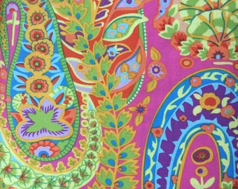 PAISLEY JUNGLE GP 60  Lime by Kaffe Fassett Sold in 1/2 yd increments