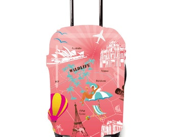 Luckiplus Vacation Luggage Cover Spandex Suitcase Cover Fits 18-32 Inch Luggage