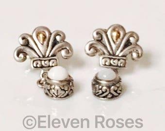 Designer Bali Fleur De Lis 925 Sterling Silver 750 18k Gold White Agate Drop Earrings