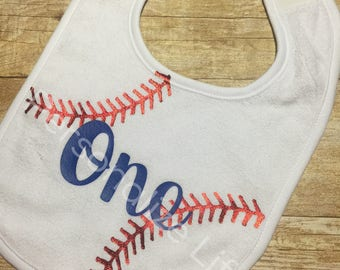 Baseball Birthday Bib, One bib, Baseball one bib, Baseball bib, Birthday Bbi