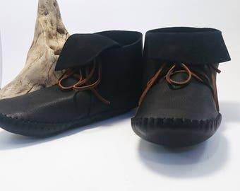 Men's leather Moccasins Inca style high top native American aztec leather bison hide hippie larp festival