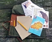 Waxed canvas and leather correspondence kit/roll, artists roll, tool wrap, postcards, envelopes, pencils,