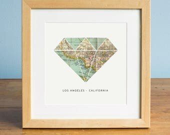 Los Angeles Map Art, LA Map, Map of Los Angeles, California Map, Diamond Map, Engagement gift, wedding gift, romantic gift