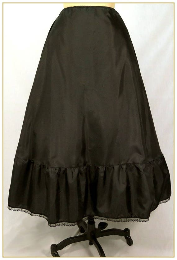 Victorian Skirts | Bustle, Walking, Edwardian Skirts Black Victorian Petticoat Xlarge Adjustable Waist Sizes 36-49