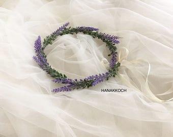 Flower Crown / Wedding Flower Crown / Purple Lavender / Floral Crown / Flower Girl / Bridesmaids / Wedding Accessories / Bridal Accessories