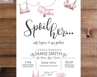 Lingerie Shower Invitation | Blush Shower Invitation | Bachelorette Party Invite | Lingerie Party | DIY invitation or Printed Invitations