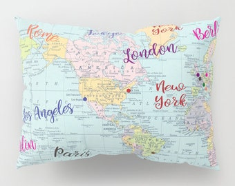 Rome map blanket etsy fashion capitals pillow case colorful world map fashion cities paris london gumiabroncs Images