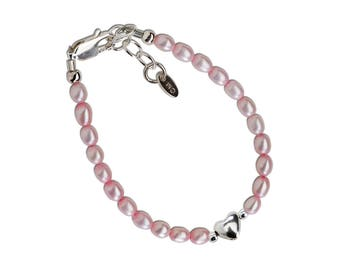 Sterling Silver Pink Freshwater Rice Pearl and Heart Bracelet for Babies and Girls in Gift Box (Destiny Pink)