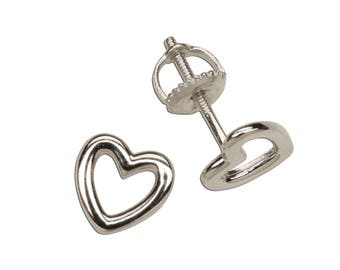 Sterling Silver Hollow Heart Earrings for Girls with Screw Backs (SSE-Hollow Heart)