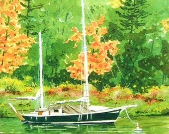 Sailboat at Rest watercolor limited edition print fall landscape sailing