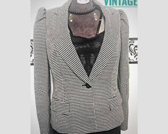 1990's Houndstooth Zipper Detail Blazer by Worthington, Size Small, Vintage 90's Friends Hounds Tooth Hipster Blazer Jacket