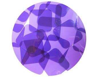 Square Vinyl Shape Top Hole 40mm Purple Go Go Transparent