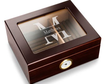 Personalized humidor capri glass top mahogany monogrammed customized monogram engraved custom humidors cigar boxes humidifiers box cases