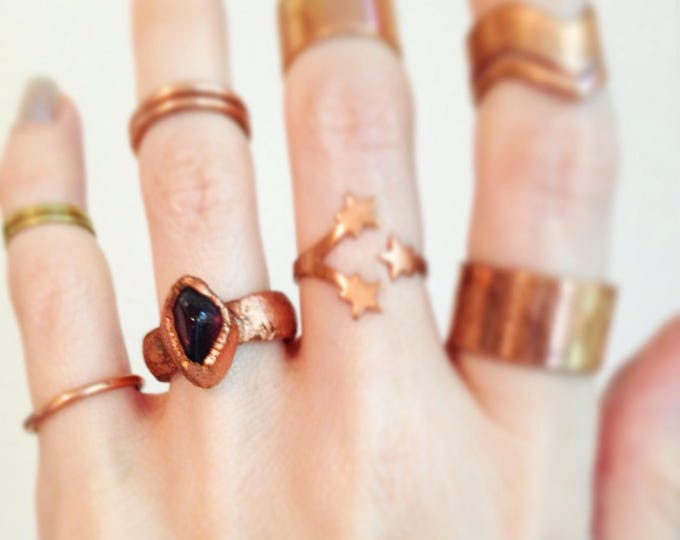 SALE Brazillian Amethyst Copper Ring, Electroformed Ring, Electroplated Ring, Size 4 ring
