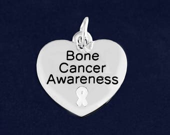 10 Heart Bone Cancer Awareness Charms in a Bag (10 Charms) (C-129-15BC)