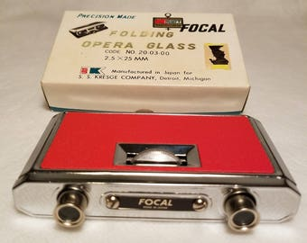 Vintage FOCAL Center Focus Compact Folding Opera Glasses Precision Made in Japan for Kmart-Mint