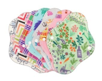 "Set of 7) 8"" Flannel/Anti pill fleece  (random prints) every day cloth panty liners, set panty liners, reusable menstrual pad"