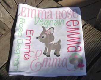 Personalized Deer Baby Blanket - Deer Receiving Blanket for Girls - Custom Woodland Blanket - Newborn Swaddling Blanket - Baby Photo Prop