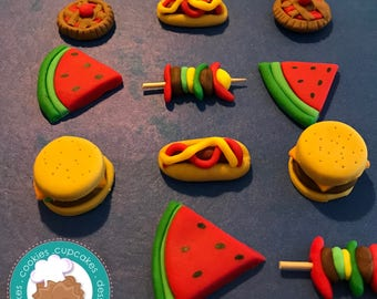 Picnic fondant cupcake toppers