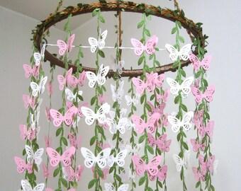 Butterfly Mobile,Baby Mobile,Hanging,Girl,Boy,Nursery decor,Crib Mobile Kit,Baby Shower,Birthday Gift,Wedding Chandelier,Ornament,Art,Pink