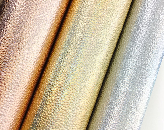 Holographic Metallic Leatherette Sheets A4 3 Colours | Gold | Silver | Rose Gold