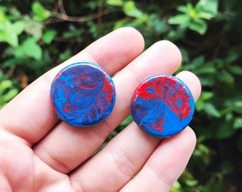 """Hand painted 1"""" wooden earrings, with surgical steel posts"""